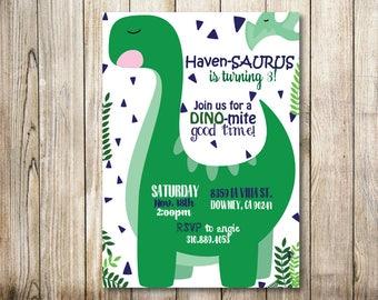 Dino Birthday Invite - Digital Invitation
