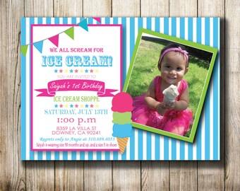 Ice Cream Party - Digital Invitation