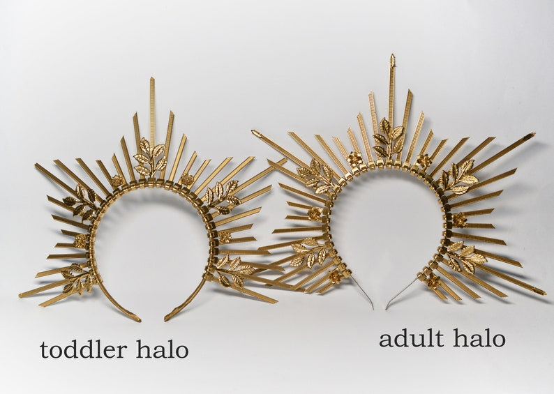 Sun halo for toddler or adult goddess crown maternity crown for photoshoot sunburst crown gold mommy and me halo crown headpiece