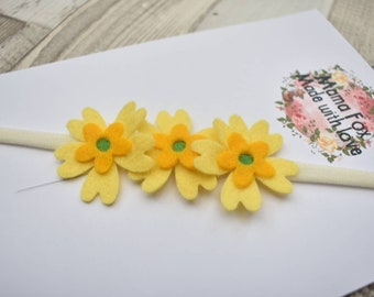 Flower headband, yellow head band, baby head bands, infant headband, yellow headband, mamafox, hair accessories, childrens hair accessories