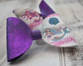 Mermaid bow, mermaid headband, mermaid hair clip, purple bow, sparkle bow, bows for girls, baby head bands, kids hair accessories, mamafox