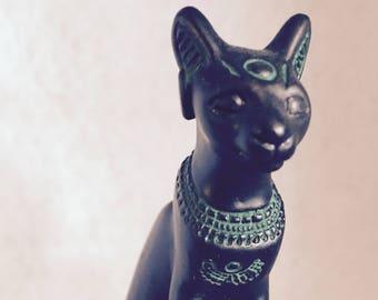 FRANKLIN MINT Vintage 1986 Black Egyptian Cat Statue