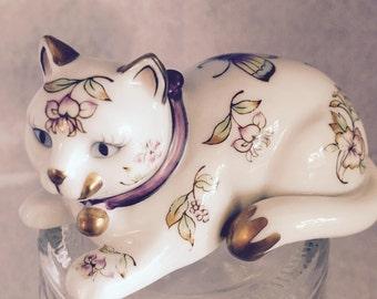 FRANKLIN MINT Vintage 1986, Ornate Porcelain Cat Statue