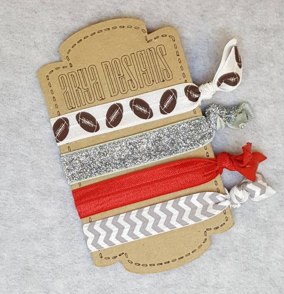 Creaseless élastiques pour les cheveux attaches, cheveux papillon Bracelets, demoiselle d'honneur cadeaux, bonbonnières, jour du match, Football, rouge + gris, GoCougs