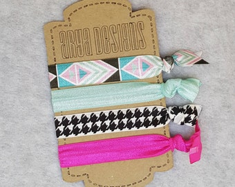 Creaseless Elastic Hair Ties, Hair Tie Bracelets, BridesMaid Gifts, Party Favors, Tribal, houndstooth, Pink, Aqua, Black and White, Set of 4