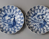 Antique Chinese blue and white Porcelain Kangxi Period dishes or Plates 17-18th c