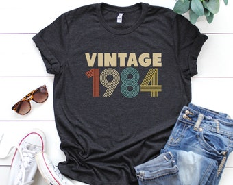35th Birthday For Women Vintage 1984 T Shirt Gift Party Mom