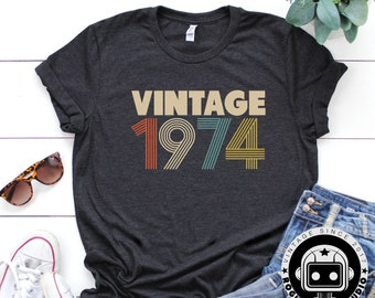 45th Birthday Gifts For Women Vintage 1974 Shirt Gift Party Tee
