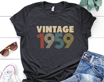 60th Birthday Gifts For Women Vintage 1959 T Shirt Gift Party Tee