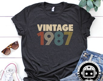 32nd Birthday Gifts For Women Vintage 1987 Shirt Gift Party Tee