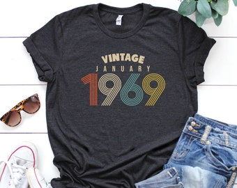 January 50th Birthday Gifts For Women Vintage 1969 T Shirt Gift Tee