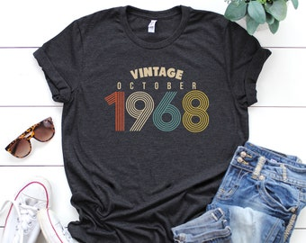 12c062b0 50th Birthday Gifts for Women, Vintage October 1968 T-Shirt, October  Birthday Gift, 50th Birthday Shirt, Graphic T-Shirt, Graphic Tee