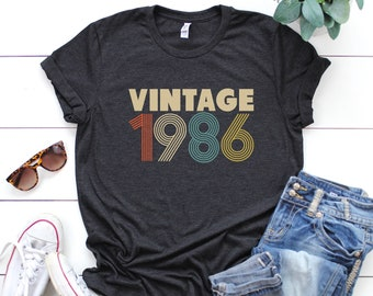 33rd Birthday For Women Vintage 1986 T Shirt Gift Party Mom
