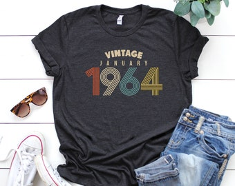 January 55th Birthday Gifts For Women Vintage 1964 T Shirt Gift Tee