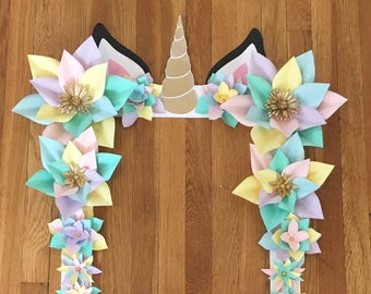 Unicorn Party Selfie Frame - Limited Edition - Unicorn Paper Flowers - Unicorn Party Decorations - Unicorn Birthday - Floral Selfie Frame