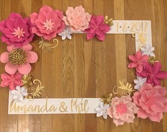 Wedding paper flower etsy pink and gold selfie frame wedding selfie frame wedding decorations wedding wedding paper flowers paper flowers selfie frame mightylinksfo