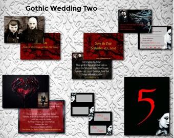 Gothic Wedding/Birds/Wedding Invitation Suite/Wedding Invitation Set/Wedding Set/Personalized Wedding Invitation Set/Unusual/Modern Wedding
