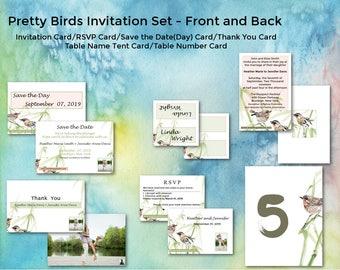 Birds/Wedding Invitation Suite/Wedding Invitation Set/Personalized Wedding Invitation Set/Unusual/Modern Wedding