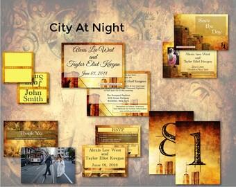 Night Wedding/Wedding Invitation Suite/Wedding Invitation Set/Wedding Set/Urban Wedding/Unusual/Contemporary Wedding/Modern Wedding