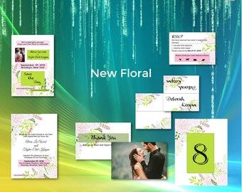 Floral Wedding/Wedding Invitation Suite/Wedding Invitation Set/Flowers/Personalized Wedding Invitation Set/Unusual/Modern Wedding