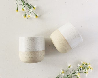 Set of 2 Handmade ceramic cups in speckle and white