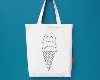 Icecream cone 100% cotton, 12oz natural canvas tote bag. Ideal for a market bag, handbag, beach bag, shopping bag, grocery bag, library bag