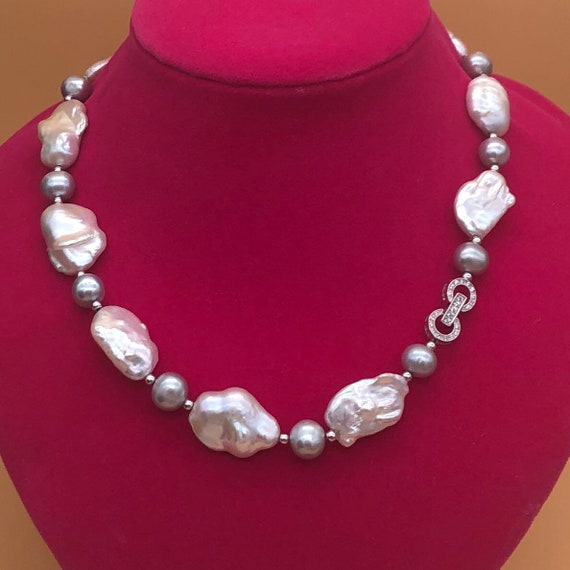 """Gray Freshwater Pearl Necklace w//White Coin Pearl Beads /& Silver Plate Clasp 17/"""""""