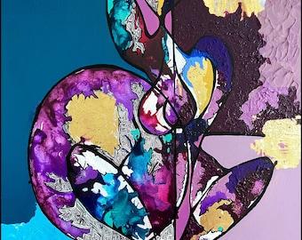 Mixed Media Abstract Figure  Painting: 'Kaleidoscope'