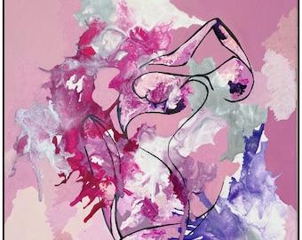 Original Abstract Figure Painting: Cumulus'