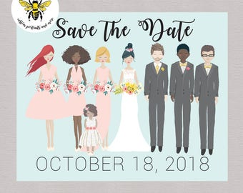 Custom Save the Date, Custom Bridal Party Portrait, Save the Date, Wedding Printable, Digital Portrait
