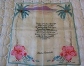 Vintage Silk Hanky Handkerchief w quot Aloha Honolulu quot Hawaii w Poem Palm Tree Flowers