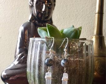 Hand Wrapped Labradorite and Selenite Earrings