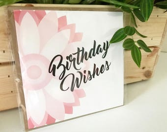 Geometric Floral Birthday Wishes Card