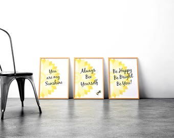 Yellow Floral Print Quote Set