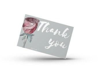 Rose Thank you Card- Grey- Print