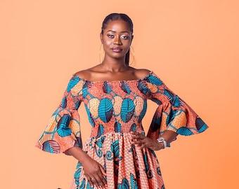 Ankara off-shoulder elastic-dress, African print dress, African clothing, Ankara dress, Ankara clothing, Elastic dress, Ankara summer dress.