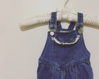 833e20301a Vintage Baby Bib Overalls Pocket Lace Denim Outfit For Baby Infant Girl  Size 12 Months Retro Toddler Clothing
