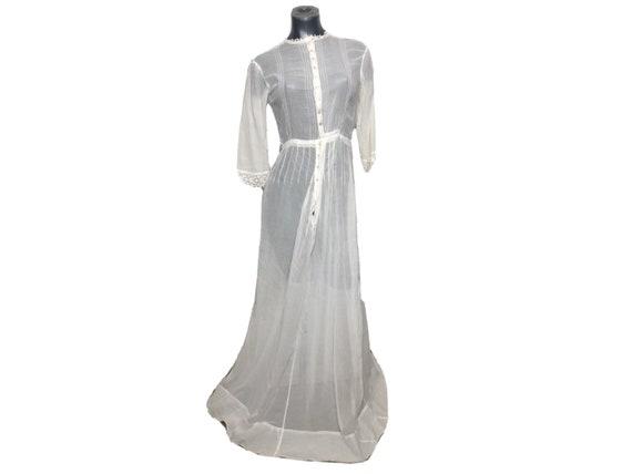 Antique Edwardian TEA LAWN DRESS 1910's Cotton Emb