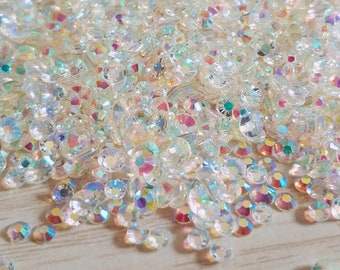 Sharp Bottom Pointed Back Cone Foiled. Starry Sky Iridescent Crystal Rhinestone Colorful Shades