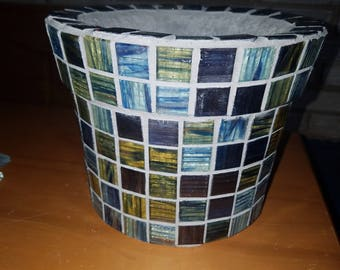 Light weight concrete  planter with glass mosaic tile.