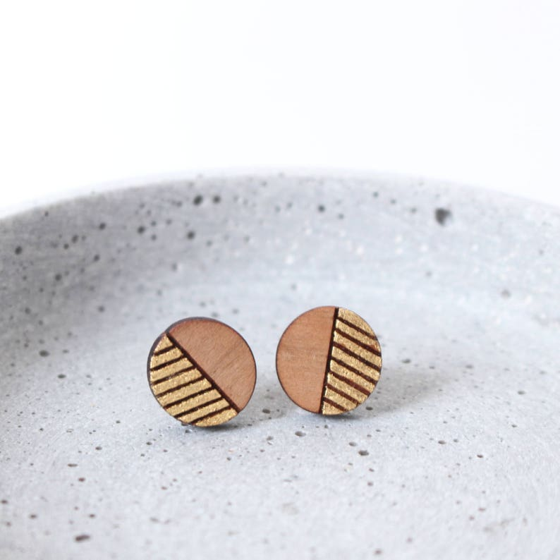 Circles & Stripes  golden and wooden earstuds image 0