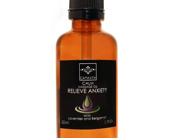 Relieve Anxiety Flavored Body Massage Oil Lavender Bergamot Natural Skin 50ml