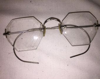 36746bb0437 Antique RARE HEXAGON Shaped Eye GLASSES with CAse Prescription Excellent  COndition OPtician Optical Eyeglasses