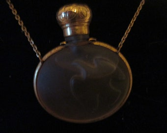 Perfume pendant etsy vintage lalique perfume gold necklace pendant unused great scent aloadofball Image collections