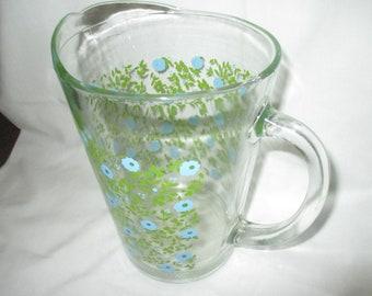 Vintage Mid Century Heavy GLASS PITCHER Spring Summer BLUE Green Flower Tea Water