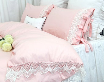 Vintage Crochet Lace Duvet Cover Pink Bedding Sets Twin/Full/Queen/King  Shabby Bedding Lace