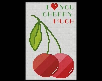 Cherry, Like, Love, You, Much, Wedding, Anniversary, Valentine's Gift, Funny, Fruits, cross stitch, pattern