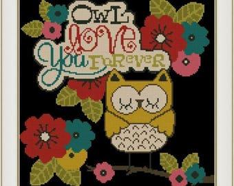 Owl Love You Forever, Cross stitch PDF pattern