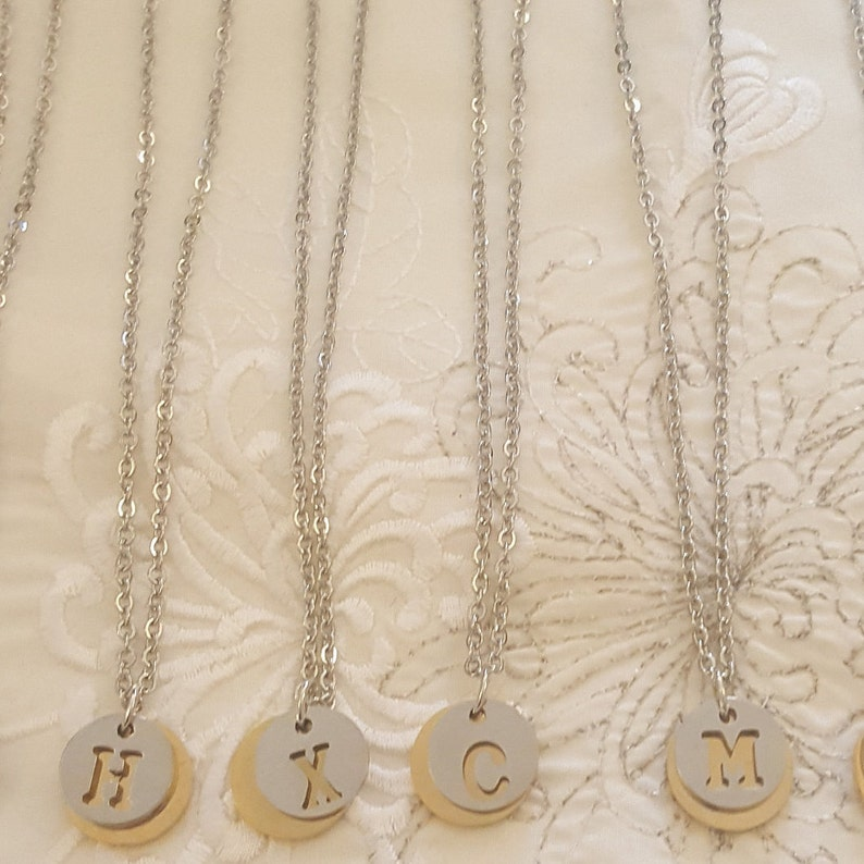 Letter Initial Necklace Word Pendant Necklaces Alphabet A B C D E F G H I J K L M N O P ... Silver Base and Gold Style Letters