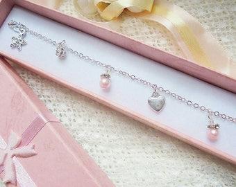 Handmade charm bracelet, pearl bracelet, bridesmaid gift, maid of honor gift, mother of bride gift.